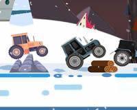Carrera de tractores navideños
