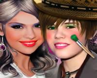 Maquilla Selena Gomez y Justin Bieber